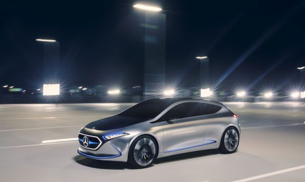 Unveiling of new Mercedes-Benz electric car in Frankfurt
